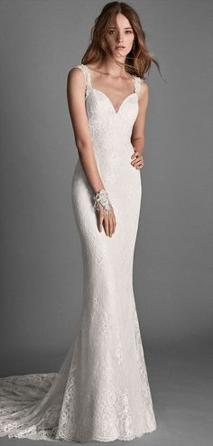 Alma Novia 2018 Mermaid Style Beaded Lace Wedding Dress