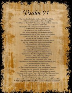 Psalm 91. My prayer for protection