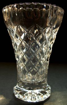Glass Match Toothpick Holder Diamond Pattern Crystal Clear Small Vase by Snowyowltreasures on Etsy
