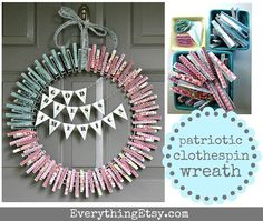 #papercraft #Patriotic clothespin wreath