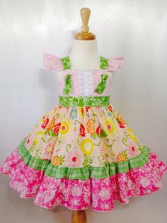 Girl Dress Size 3; Juliet; Handmade; Everyday Use; All Seasons; 100 % Cotton #Handmade #DressyEverydayHoliday