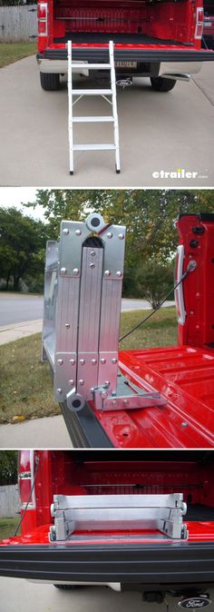 This universal compact ladder will install on any tailgate, allowing you easy access to your truck bed. It's compact design maximizes available space. It's constructed of a light-weight aluminum with an alloy finish, and it has a 300 pound weight capacity.