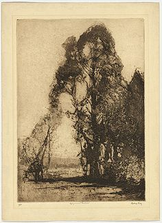Sydney Long, unknown title soft ground etching, unknown size, unknown date Landscape Drawings, Landscape Illustration, Landscape Art, Landscape Paintings, Art Drawings, Illustration Art, Landscapes, Etching Prints, Art Graphique