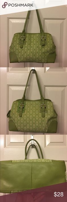 Fossil light green bag Over all clean , leather trim, 14.5x 8.5 approx , some red marks on the bottom as shown , reasonable offers accepted Fossil Bags
