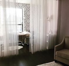 I like the idea of separating my treatment space with sheer curtains from my office space