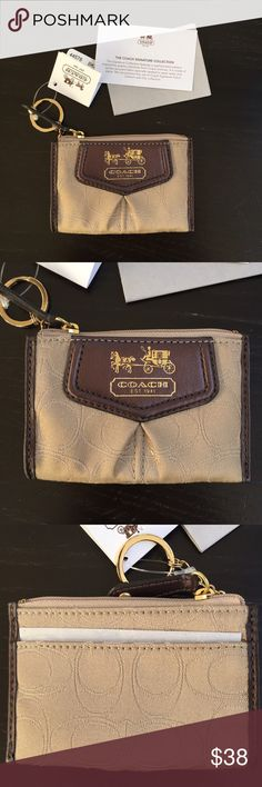 Coach signature collection coin zip keychain Coin zip wallet with one card slot on the back. Zip closure. Signature Coach logo. Color: Khaki/ Mahogany. Nwt. 100% authentic. Coach Bags Wallets