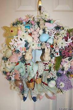Vintage Ornament Wreath Easter Spring Porcelain Rabbits Shabby Cottage Chic | eBay