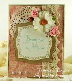 Inspired by Stamping, Joanna Munster, Heartfelt Gratitude, Fancy Labels 3 Stamp Set and Card, Shabby chic card, thank you card, shabby chic, cards, card