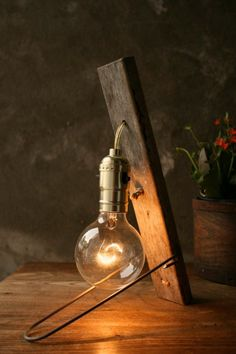 Vintage Wood Lamp in lights  with Wood Vintage Light Lamp