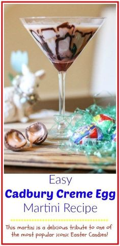 This easy Cadbury Creme Egg Martini recipe is a delicious tribute to one of the most popular iconic Easter candies making it a favorite Easter cocktail. Easy Drink Recipes, Martini Recipes, Yummy Drinks, Cocktail Recipes, Easy Desserts, Dessert Recipes, Recipes Dinner, Alcohol Recipes, Crockpot Recipes