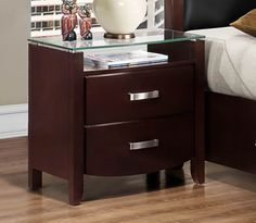 Lyric Collection Night Stand with Glass Top 1737NC-4 Free Shipping