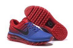 buy popular e44eb ee74c Nike Air Max 2017 Sapphire Blue Red Soldes Chaussures, Chaussures Air Max, Chaussure  Nike