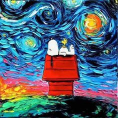 Snoopy and Woodstock Van Gogh