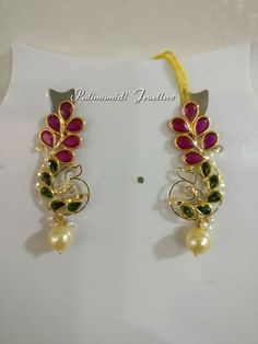 Ruby Necklace Designs, Jewelry Design Earrings, Gold Jewellery Design, Pendant Jewelry, Beaded Jewelry, Gold Jewelry, Gold Bridal Earrings, Pretty Necklaces, Jewelry Patterns