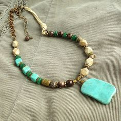 Teal Blue Brown and Cream Stone Leatehr Necklace by mamisgemstudio
