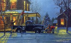 """This Dave Barnhouse holiday print reminds us of the simple Christmas traditions--hanging garland, decorating the tree, being with family. """"A few weeks before Christmas it was a tradition that everyone"""