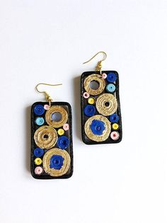 rectangular quilling paper earrings blue and gold eco-jewel