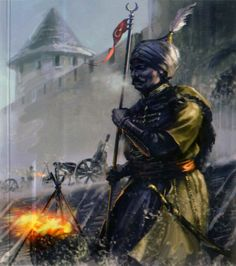 Ottoman Turks bombarding a Hungarian town