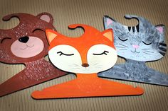 hand painted wood cloth hangers by Ptashka-decor /laser cutting