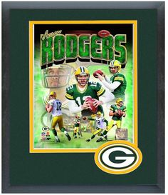 """Aaron Rodgers Packers - 11"""" x 14"""" Framed & Matted """"Portrait Plus Photo Montage"""""""
