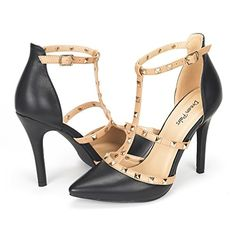 DREAM PAIRS ROCKSTAR-HIGH Women's D'Orsay Style Metal Studs Pointy Pumps Classic Stiletto Heel Shoes New Black Size 9... Featuring faux leather upper, pointy toe design, sweetheart style and stiletto heel. Finished with lightly padded insole for comfort. FITTING TIPS: RUNS TRUE TO SIZE!!FITTING TIPS: RUNS TRUE TO SIZE!!Heel height: 4″ (approx)Platform height: 0.25″ (approx)TPR rubber soleLatex padded......http://bit.ly/2mk3XT5