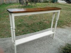 These great console tables are made with a barn wood top and old spindles for the legs