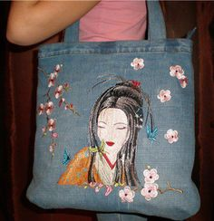 Oriental tote bag with Geisha machine embroidery design