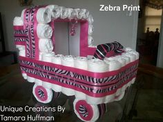 Diaper cake Stroller ZEBRA themed made by UniqueCreationsbyT, $125.00