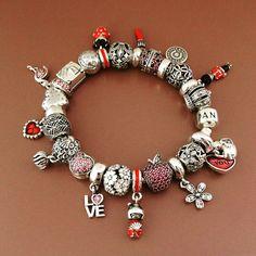 50% OFF!!! $499 Pandora Charm Bracelet Pink Red White. Hot Sale!!! SKU: CB01931 - PANDORA Bracelet Ideas