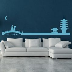 Japanese Landscape Wall Sticker. Japanese landscape and skylines are filled with numerous elements from the Asian culture. Bring the quintessential elements handpicked from Japanese landscape home and fill your walls with these lovely wall stickers decals. http://walliv.com/japanese-landscape-wall-sticker-wall-art-decal