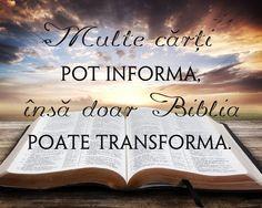 Cărțile informează, Biblia transformă.
