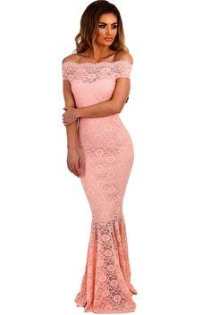 Sukienka koronkowa maxi odkryte ramiona różowa