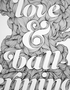 Hand drawn type. Beautiful simplistic repetition within the negative space between letters.