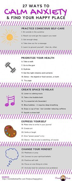 27 ways to calm anxiety and find your happy place. Stress and Anxiety. Stress less. Stop stress. Health Anxiety, Anxiety Tips, Deal With Anxiety, Anxiety Help, Social Anxiety, Stress And Anxiety, Mental Health, Anxiety Facts, Health And Wellness