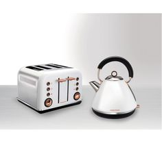 accents rose gold kettle and toaster set in white finish. Black Bedroom Furniture Sets. Home Design Ideas