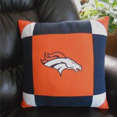 Denver Bronco Logo T Shirt Pillow  18 X 18  by MossReCreations, $32.00