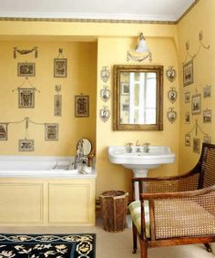 Inexpensive, peel-and-stick, Federal-style motifs add an unexpected twist in a bath and are a lot easier to apply than wallpaper. Similar to shown: Old Frames Wall Stickers, about $20 for a pack of four; Wall Pops. | Photo:Tim Beddo/Interior Archive
