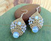 Opalite macrame earrings,fairy earrings,micromacrame earings,macrame jewelry,micro macrame,macrame stone,micromacrame jewelry,free shipping