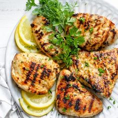 Grilled lemon chicken is a tender, juicy and savory grilling recipe that is perfect for summer. It's light, healthy and beaming with Mediterranean flavor! Juicy Grilled Chicken Recipe, Marinated Chicken Recipes, Healthy Chicken Recipes, Grilled Recipes, Summer Grilling Recipes, Healthy Grilling, Chewy Chicken, Healthy Eating, Lifestyle
