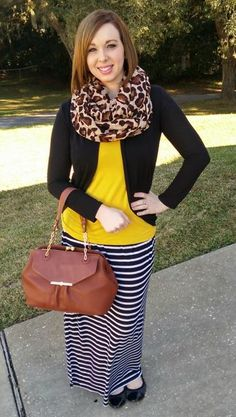 Cardi, T & scarf in Leopard. Modest Church Outfits, Church Outfit For Teens, Modest Dresses, Dressy Skirts, Striped Maxi Skirts, Modern Outfits, Casual Outfits, Cute Outfits, Putting Outfits Together