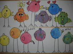color mixing birds. trace 6 circles, add legs, wings, beak, etc. with black crayon. use primary colors to paint all 6 birds, mix paint directly on paper.