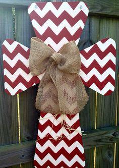 Custom Chevron Print Wooden Cross Door Hanger by SweetSophieJacks, $39.99