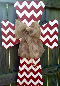 Custom Chevron Print Wooden Cross Door Hanger by SweetSophieJacks, $39.99
