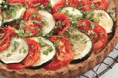 Zucchini, tomato, and ricotta tart in an olive oil crust, from America's Test Kitchen.