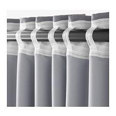 praktlilja blackout curtains, 1 pair, gray/beige | room, lights