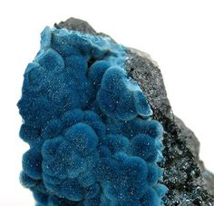 Shattuckite Cu5(SiO3)4(OH)2 Secondary mineral after malachite. Named after Shattuck mine, AZ, USA.