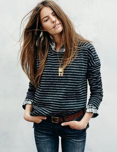 Pull rayé + chemise à carreaux = le bon mix (look Madewell)