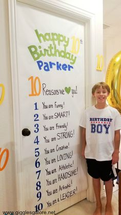 Birthday Tradition and Surprise Birthday Sign Fun birthday morning tradition and surprise birthday sign to help you celebrate your kids turning double digits. 10th Birthday Parties, 12th Birthday, Birthday Fun, Birthday Party Themes, Surprise Birthday, Birthday Cake, Birthday Door Decorations, Birthday Ideas For Boys, Birthday Signs