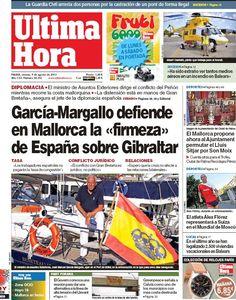 Los Titulares y Portadas de Noticias Destacadas Españolas del 9 de Agosto de 2013 del Diario Ultima Hora ¿Que le pareció esta Portada de este Diario Español?