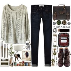 It's Always Different by cejaysareia on Polyvore featuring moda, Abercrombie & Fitch, Chie Mihara, Tea Collection, Crate and Barrel and Polaroid